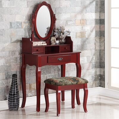 Emmett Ribbon Wood Makeup Vanity Set with Mirror Color: Cherry