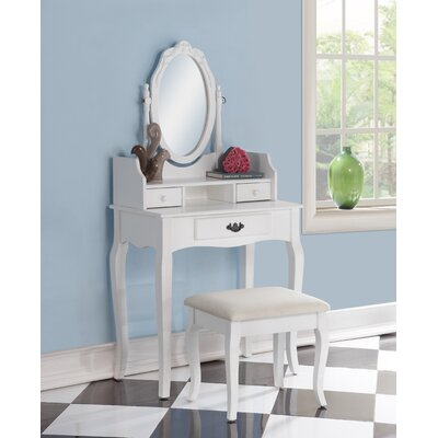 Emmett Ribbon Wood Makeup Vanity Set with Mirror Color: White
