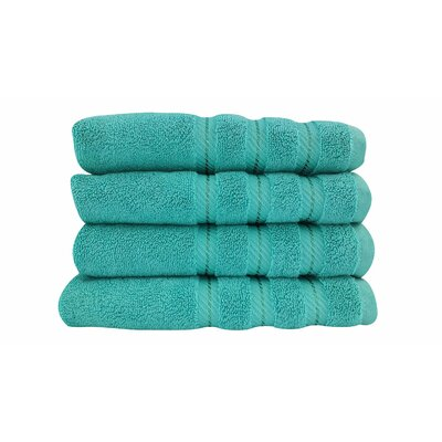 4 Piece Hand Towel Set Color: Aqua
