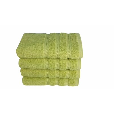 4 Piece Hand Towel Set Color: Green