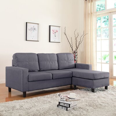 Emmons Reversible Sectional Upholstery: Dark Grey