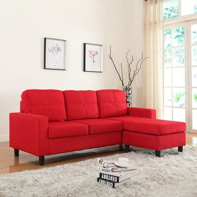Emmons Reversible Sectional Upholstery: Red
