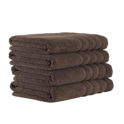 Classic Luxury 4 Piece Towel Set Color: Chocolate