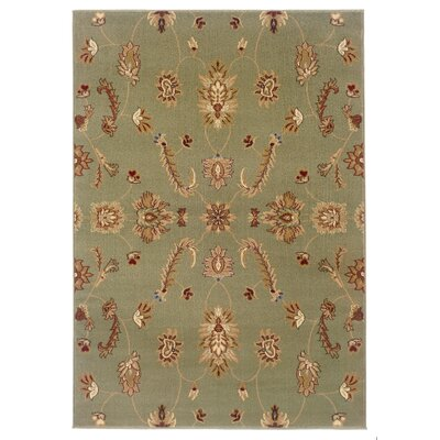 Enola Traditional Design Green Area Rug Rug Size: Rectangle 53 x 75