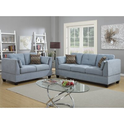 Esmond 2 Piece Living Room Set Upholstery: Blue