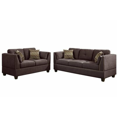 Esmond Jayden Sofa and Loveseat Set Upholstery: Dark brown