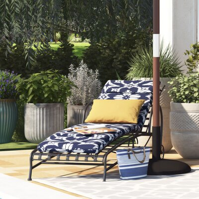 Spun Polyester Outdoor Chaise Lounge Cushion Fabric: Aspidoras Cobalt