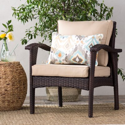 Crane Wicker Club Chair with Cushion Finish: Brown