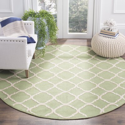 Fullerton Green/Ivory Geometric Area Rug Rug Size: Round 6