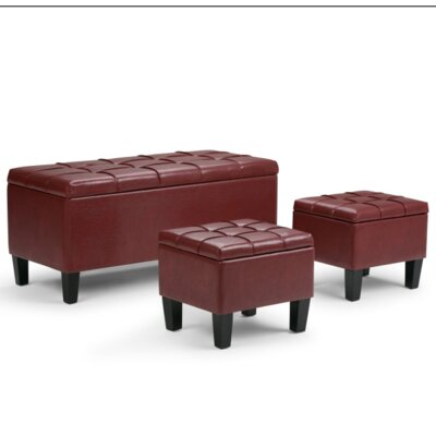 Hampshire 3 Piece Storage Ottoman Set Upholstery Color: Midnight Black