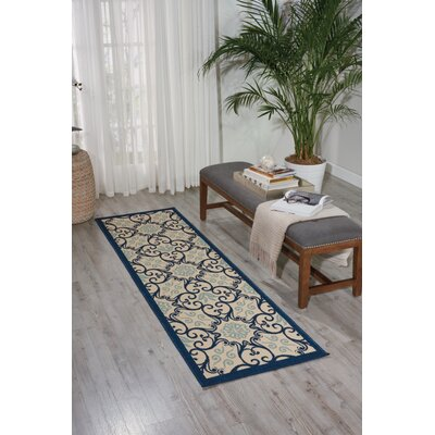 Carleton Ivory/Navy Indoor/Outdoor Area Rug Rug Size: 23 x 76