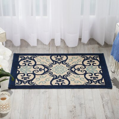 Carleton Ivory/Navy Indoor/Outdoor Area Rug Rug Size: 19 x 29