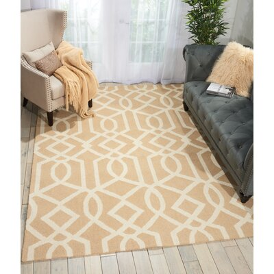 Hulings Hand-Knotted Sand/Ivory Area Rug Rug Size: Rectangle 5 x 7