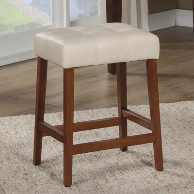 Northlake 24 Bar Stool Upholstery: Ivory, Finish: Mid-Tone Brown