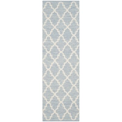 Valley Hand-Woven Light Blue/Ivory Area Rug Rug Size: Runner 23 x 7