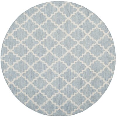 Valley Hand-Woven Light Blue/Ivory Area Rug Rug Size: Round 6
