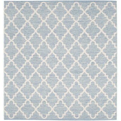 Valley Hand-Woven Light Blue/Ivory Area Rug Rug Size: Square 6