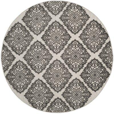 Mannox Cream/Gray Indoor/Outdoor Area Rug Rug Size: Round 67