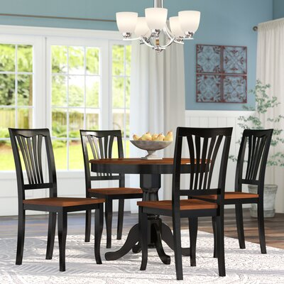 Ranshaw 5 Piece Dining Set Finish: Black/Cherry