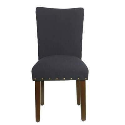 Clymer Classic Parsons Chair Upholstery: Deep Navy, Finish: Mid-tone Walnut