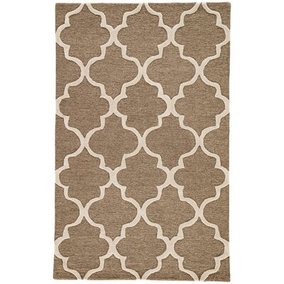 Felix Hand-Tufted Wool Beige/Brown Area Rug Rug Size: 96 x 136