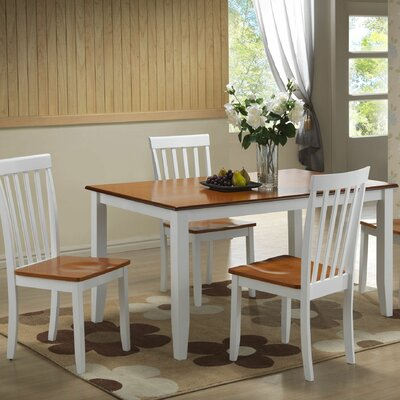 Ann 5 Piece Dining Set Finish: White / Honey Oak