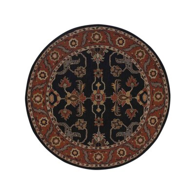 Bienville Vintage Hand-Tufted Wool Charcoal/Rust Area Rug Rug Size: Round 6