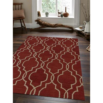 Biermann Hand-Tufted Wool Red/Beige Area Rug Rug Size: 5 x 8