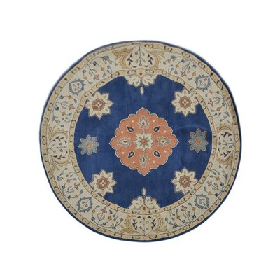 Bilmar Vintage Hand-Tufted Wool Blue/Beige Area Rug Rug Size: Round 6