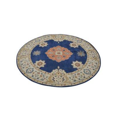 Bilmar Vintage Hand-Tufted Wool Blue/Beige Area Rug Rug Size: Round 8