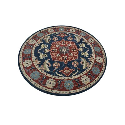 Binney Vintage Hand-Tufted Wool Blue/Red Area Rug Rug Size: Round 6