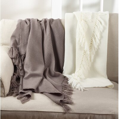 Auburnhill Classic Waffle Weave Design Tasseled Border Trim Throw Color: Warm Grey