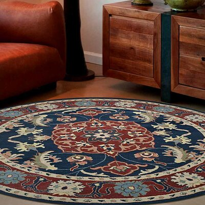 Binney Vintage Hand-Tufted Wool Blue/Red Area Rug Rug Size: Round 8