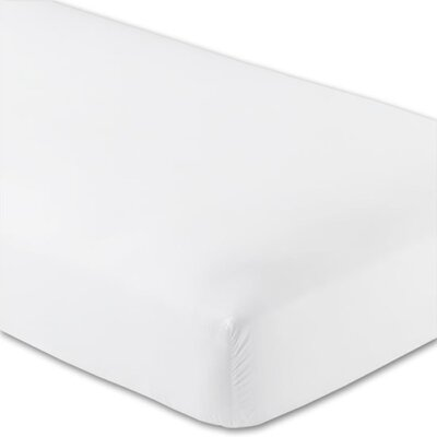 Gettinger 300 Thread Count 100% Cotton Percale Fitted Sheet Size: Split California King, Color: White