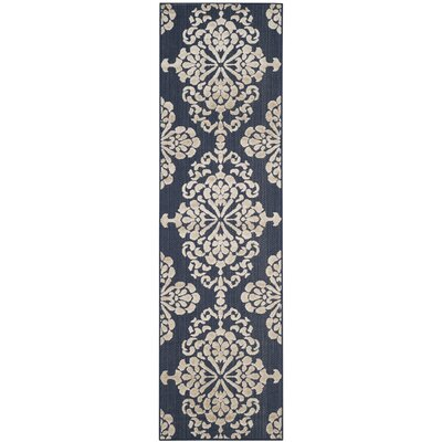 Mannox Navy/Cream Indoor/Outdoor Area Rug Rug Size: Runner 23 x 8