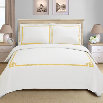Goehring 200 Thread Count 100% Cotton Duvet Set Size: King / California King, Color: Gold