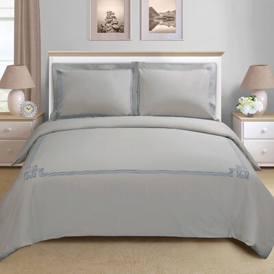 Goehring 200 Thread Count 100% Cotton Duvet Set Size: Full / Queen, Color: Grey-Grey