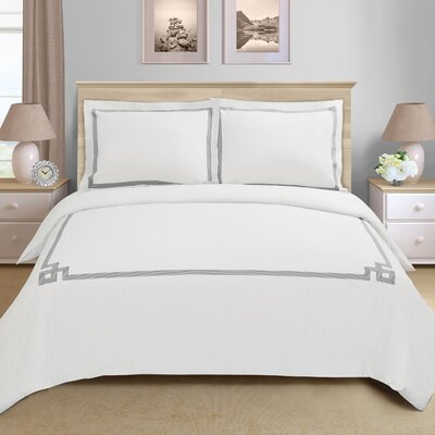 Goehring 200 Thread Count 100% Cotton Duvet Set Color: Grey, Size: King / California King