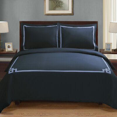 Goehring 200 Thread Count 100% Cotton Duvet Set Size: King / California King, Color: Navy Blue-Navy Blue