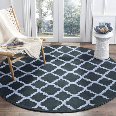 Fullerton Black/Blue Geometric Area Rug Rug Size: Round 6