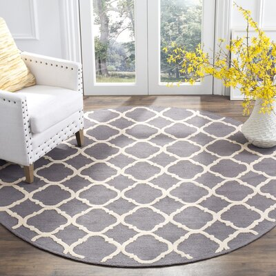 Fullerton Brown/Ivory Geometric Area Rug Rug Size: Round 6