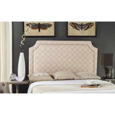 Laurie Upholstered Panel Headboard Size: Full, Color: Pale Pink / Beige, Upholstery: Linen