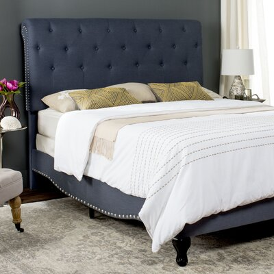 Hathaway Upholstered Platform Bed Upholstery: Navy, Size: Queen
