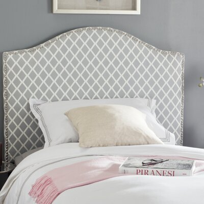 Broadmeade Upholstered Panel Headboard Size: Twin, Upholstery: Gray and White