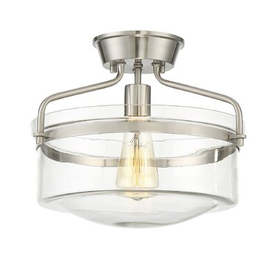 Rhinebeck 1-Light Semi Flush Mount Finish: Brushed Nickel