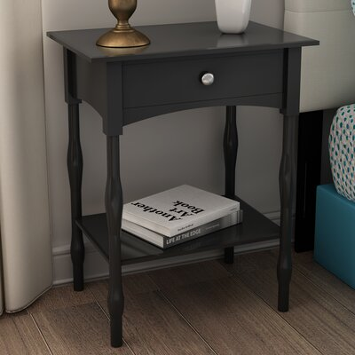Bel Air End Table With Storage Color: Charcoal