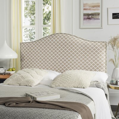 Carol Queen Upholstered Headboard Upholstery: Peach Pink & White