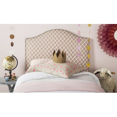 Broadmeade Upholstered Panel Headboard Size: King, Upholstery: Peach Pink and White