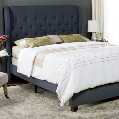 Merrin Upholstered Panel Bed Upholstery: Navy, Size: Twin