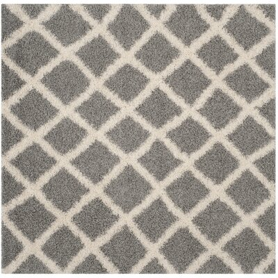 Knoxville Shag Gray/Ivory Area Rug Rug Size: Square 6